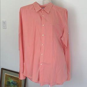 John Varvatos XL cotton button down salmon shirt.